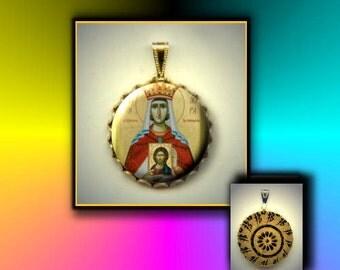 St Theodora the Empress Orthodox Saint hand pressed flat metal button CABOCHON in Brass Charm / Pendant