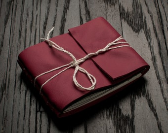 Pocket Leather Journal or Leather Sketchbook, Gift For Her, Pocket Sized, Strawberry Red Handbound Coptic Stitch Notebook