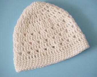 White Crochet Beanie Med Weight Beanie Crochet Hat (HAT103 White)