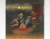 """Antique Color Postcard Circa 1905, Cowboys Around Campfire in front of Bunkhouse, """"Tis a Faded Picture"""", Unused Post Card, Paper Ephemera,"""