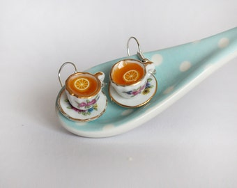 Tea Party Earrings - Lemon Tea earrings - Drink Earrings - Tea party Jewelry - Food Earrings - Miniature Food Jewelry - Kawaii Earrings -