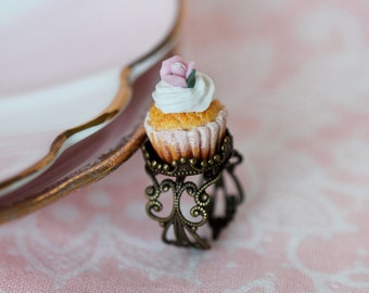 Cupcake Ring - Pink Flower Cupcake Ring - Pastry Ring -Tea Party Ring - Marie Antoinette Ring - mini Food Jewelry - Food Ring _ Kawaii Ring