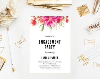 Bright Summer Engagement Party Invitation