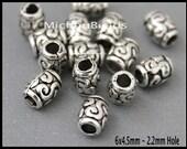 BULK 25 SILVER 6mm Spacer Beads - 6x4.5mm Oval Tube Barrel Tibetan Style Large 2.2mm Hole Metal Boho Beads - Usa Discount DIY Craft - 6628