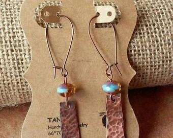 Hammered Copper Earrings, Oxidized Earrings