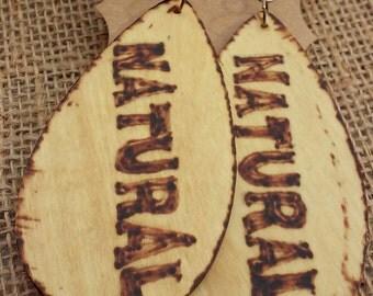 Wood Earrings, Large Natural Earrings, Wood Burned Earrings