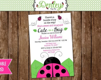 Pink Ladybug Baby Shower Invitation (LB02)