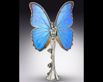 Real Butterfly Fairy Statue - Pewter Figurine, Butterflies, Nature, Whimsical, Fantasy Decor