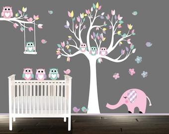 Girls Owl Wall Decals, Childrens Nursery Decal, Girls, Tree wall art, wand tattoo eule