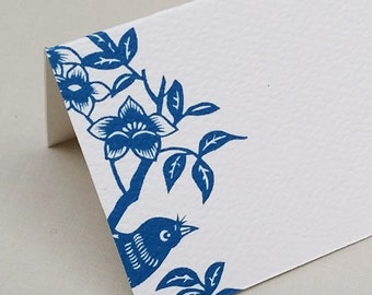 Ming Blue Bird Place Cards,Floral Place cards,Placecards,Blue, Set of 12
