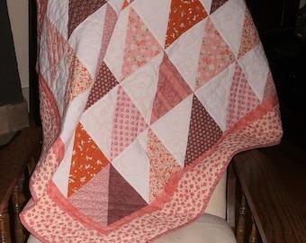 Baby Quilt Pink Orange Burgundy White Hand Quilted
