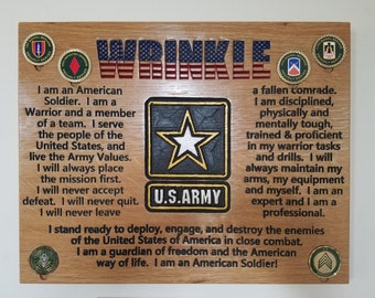 Hand Crafted US Army Creed Plaque