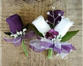 Purple white Roses pin on Corsage and boutonniere set Wedding Bridal flowers 2pc set
