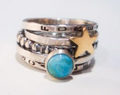 Golden Star Personalized Stacking Ring in Sterling Silver and Turquoise