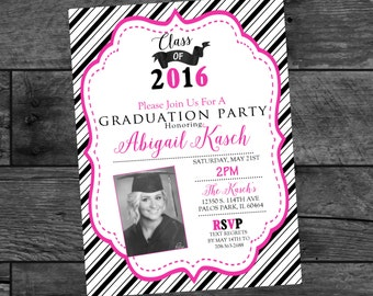 Graduation Invitations - High School Graduation - Party Invitations - Pink and Black Invites - Digital