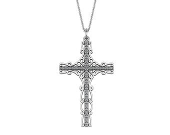 Unique Diamond Cross Pendant Necklace in 14k White Yellow Rose Gold 0.38ct tw | made to order for you within 5-7 business days
