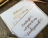 """Personalized """"Will you be my Bridesmaid"""" Card"""
