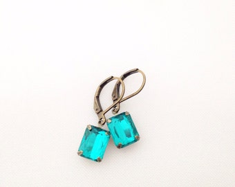 Bright Teal Gem Earrings.  Rectangle Crystal Earrings.