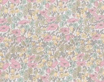 Fat eighth Poppy and Daisy B 1930s Liberty of London, low volume pastel pink and yellow floral Liberty print