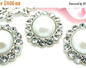 ON SALE 10 Rhinestone Pearl Buttons Acrylic Snow White Pearl Buttons W/ Clear Surrounding Rhinestones 23mm 3185 09P