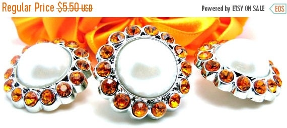 ON SALE 5 Rhinestone And Pearl Buttons Acrylic White Pearl Buttons W/ Orange Surrounding Rhinestones-26mm 3185-9P-40R.