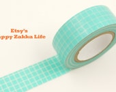 Aqua Grid - Japanese Washi Masking Tape - 11 yards