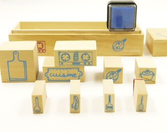 Wooden Rubber Stamp Set - Cuisine - 9 Stamps and 1 Ink-pad