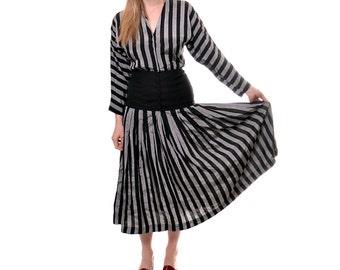 HOLIDAY SALE 1970s Howard Wolf striped dress / vintage vertical striped midi dress / pleated long sleeve dress / v neck / size 4