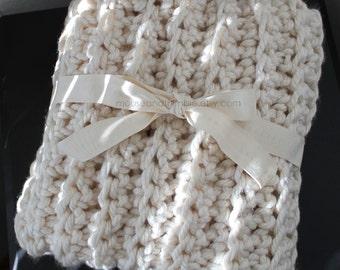 "Bulky Fisherman Style Baby Afghan Throw - Crochet PATTERN 32"" x 24""/(81 x 61) cm - PDF 2432"