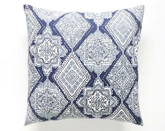 Vintage Indigo Milan. Navy, Blue, and Gray. Decorative Pillow Cover. 18X18 Inches. Navy Throw Pillow Cover. Geometric Pillow. Diamonds.