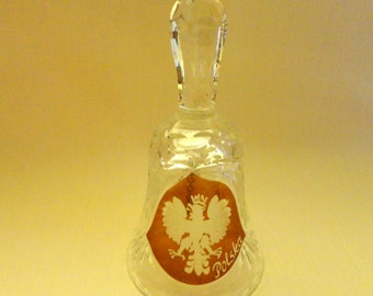 "Vintage Polish Bell - clear cut Crystal with Amber Shield, etched in center is the Crowned White Eagle, Emblem of Poland ""Polska"""