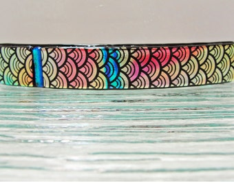 "Large 4-1/4"" Dichroic Fused Glass Barrette Pink Coral Blue Hair Barrette Dichroic Glass Barrette Jewelry Gifts for Women Under 30 Dollars"