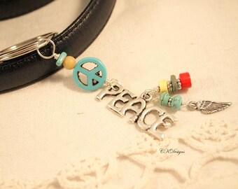 Peace Charm Keychain, Boho Keychain, Car Accessory, Southwestern Turquoise Key Fob, Flower Child Keychain
