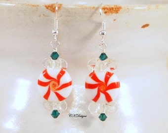 Christmas Candy Earrings, Peppermint Candy Christmas Earrings, Peppermint Candy Pierced Or Clip-on Earrings. CKDesigns.us