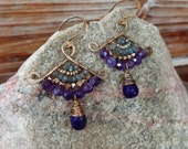 Jam. Reserved Listing. Hammered Brass Fan Earring with Labradorite, Amethyst, Chalcedony and Pearl