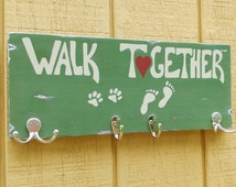 Wood Walk Together Dog Leash holder, Key,Towel,Beach,Pool,Coat Rack-Paw & feet print-Painted/Distressed-6 Hooks!Wall Hanging sign organizer