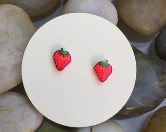 Strawberry earrings, stud earrings, strawberries, food jewelry, fruit jewelry, Strawberry jewelry, neon