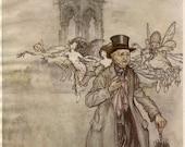 Vintage Print Illustration by Arthur Rackham Peter Pan in Kensington Gardens, Mr. Salford