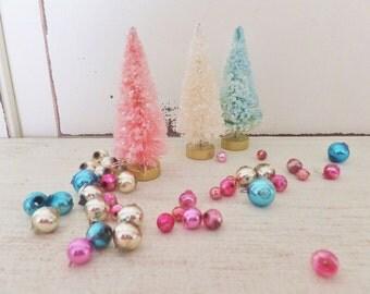 Shabby Chic Bottle Brush Tree Set of 3 Vintage Style Christmas / Winter ~ Glittered Pink, Turquoise, Blue, Cream
