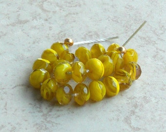 6x9mm Yellow Czech Swirl, Fire Polished Roundels, Donuts, Yellow Clear & Opaque Swirls, Rondelles (YFPR-011216) 20 Beads New