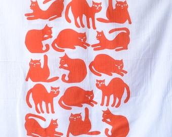Flour Sack Dish Towel - Cats: Grey or Burnt Orange