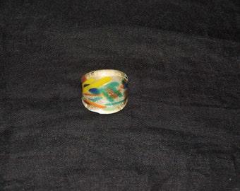 Vintage 70s Acrylic Ring Blue Green Yellow Orange Copper Plastic Hippie Boho Jewelry