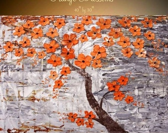 "Sale Oil Landscape Tree painting Abstract Original 40"" palette knife ""Orange Blossom Tree"" oil  impasto oil painting by Nicolette Vaughan Ho"