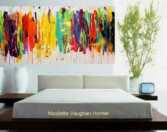"Original 48""x24""Abstract Painting Multi Shades  Ready to Hang Gallery Canvas Contemporary Fine Art  by Nicolette Vaughan Horner"
