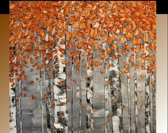 "36"" x 36"" Aspen Birch Trees Original Gallery Canvas Painting Landscape Palette Knife,Gorgeous Fall Colors by Nicolette Vaughan Horner"