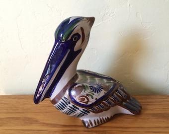 Vintage Mexican Ceramic Pelican Hand Painted Tonala Mexican Folk Art Pottery Bird Mexico