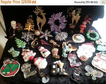Christmas In July Sale Vintage Christmas tree ornaments 34 piece lot mid century mid century 1960s