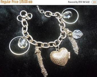 Now On Sale Vintage Chunky Charm Rhinestone Bracelet