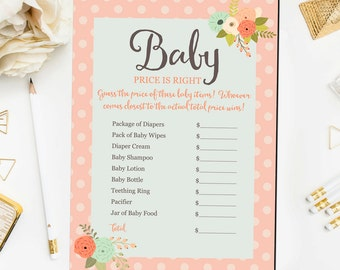 Baby Price Is Right Printable Game, Baby Shower Game Printable, Floral Baby Shower Games, Price Is Right Game Instant Download BB3