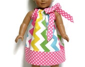 18 inch Doll Clothes Pillowcase Dress Easter Spring Pastel Chevron 15 inch Doll Clothes